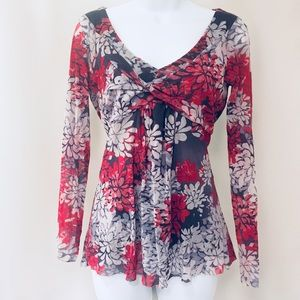 🆕 Anthropologie Sheer Layered Floral Top, NWOT